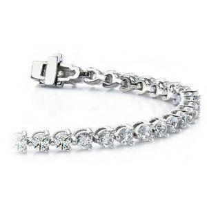 6.5 Ct round cut diamond tennis bracelet white gol